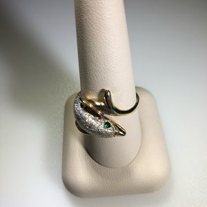 14k Yellow Gold Textured Dolphin Ring Size 9 3/4